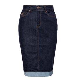 Queen Kerosin Queen Kerosin Workwear Denim 5 Pocket Pencil Skirt in Dark Blue