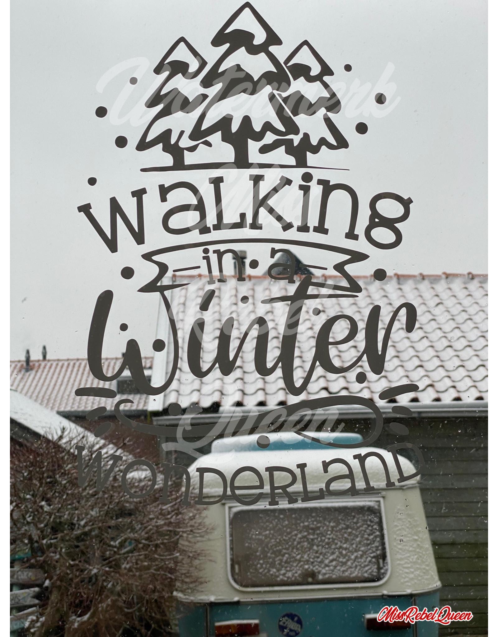 Rebel-Art by Miss Rebel Queen Raamsticker Walking in a Winter Wonderland