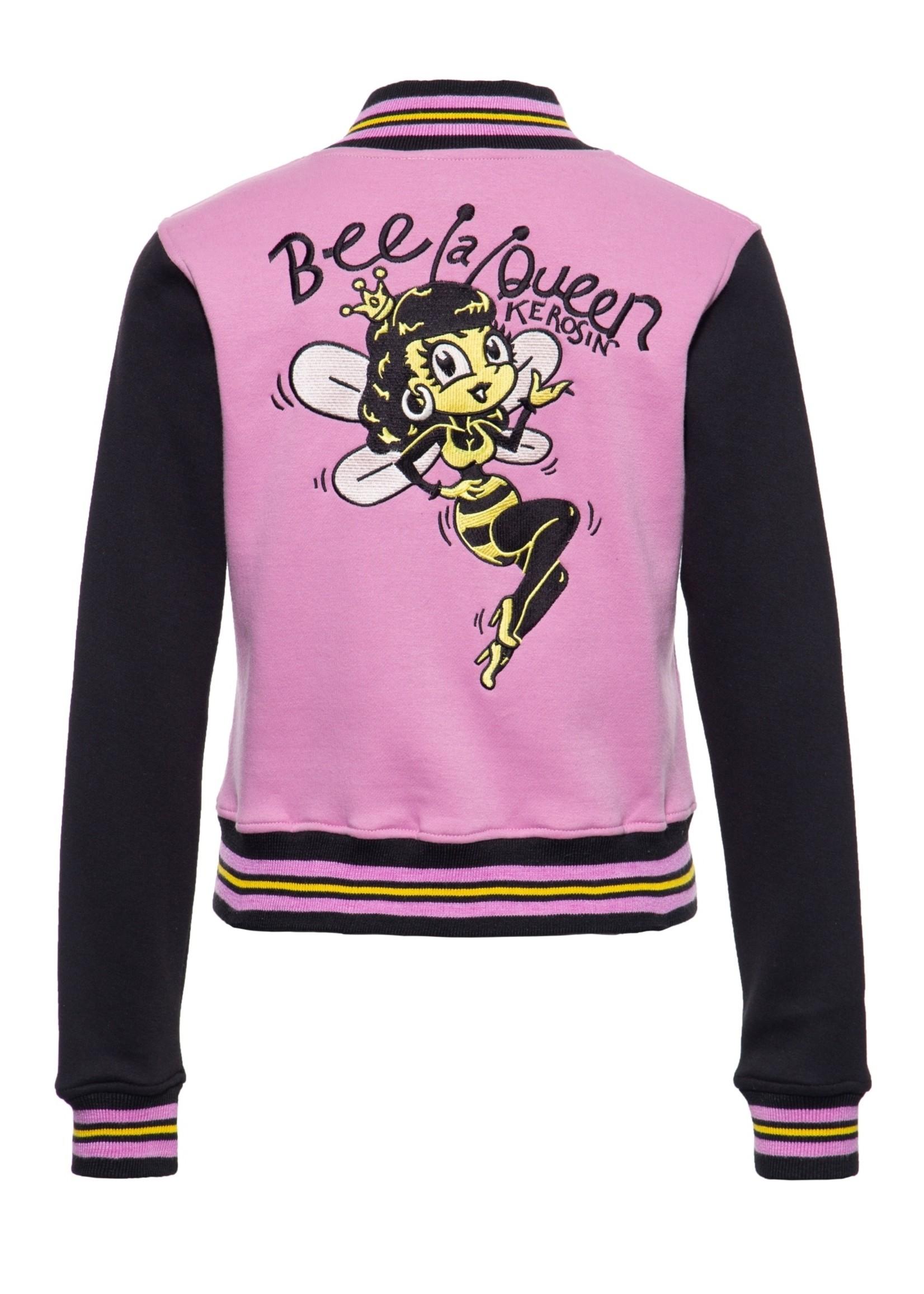 Queen Kerosin Queen Kerosin Bee a Queen Baseball Jacket in Pink and Black