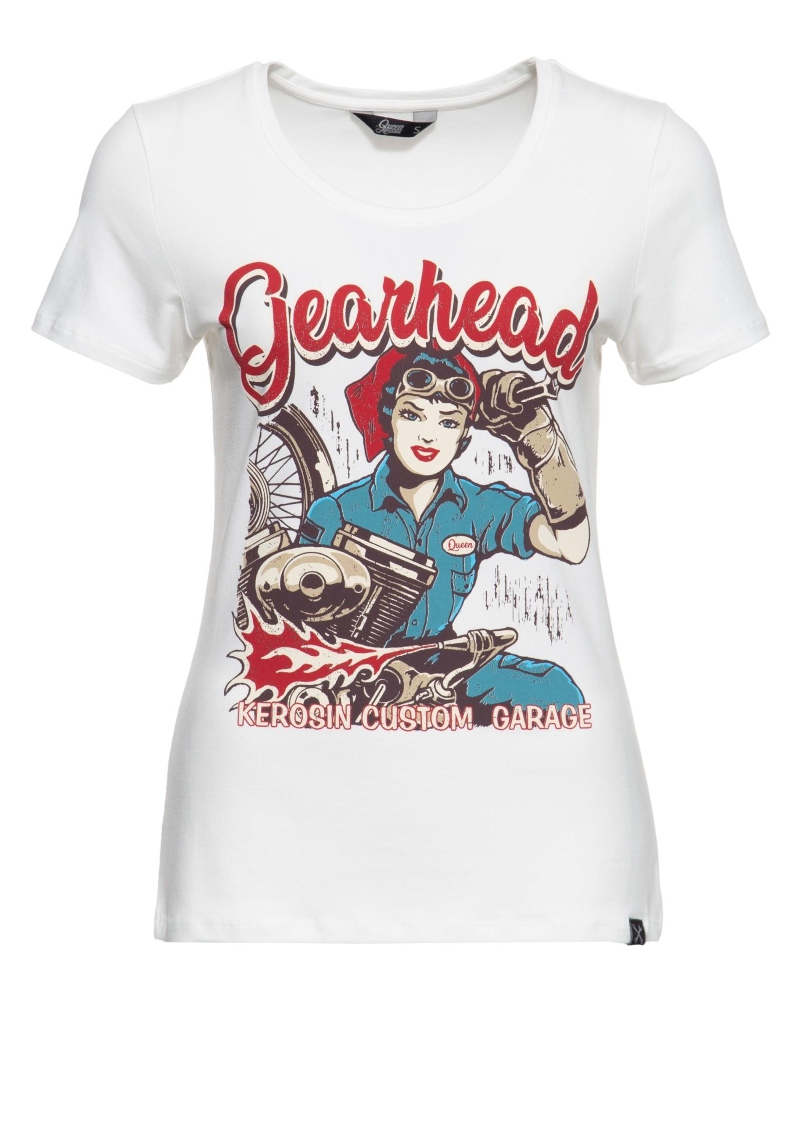 Queen Kerosin Queen Kerosin 50s T-Shirt Gearhead Offwhite
