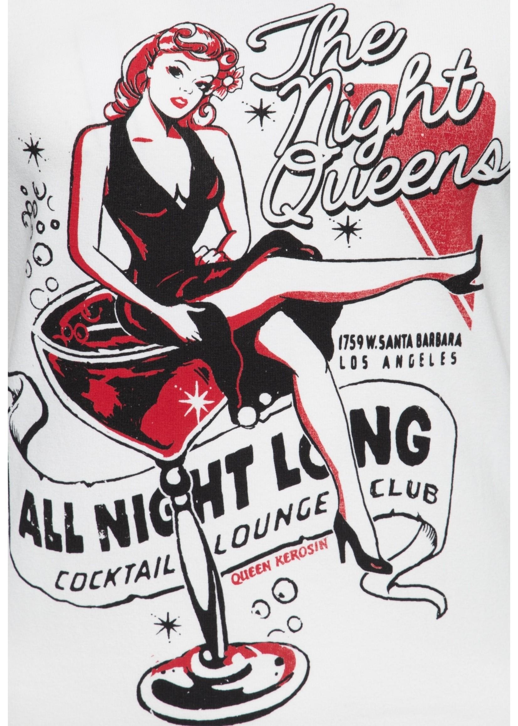 Queen Kerosin Queen Kerosin 50s T-Shirt The Night Queens in Offwhite