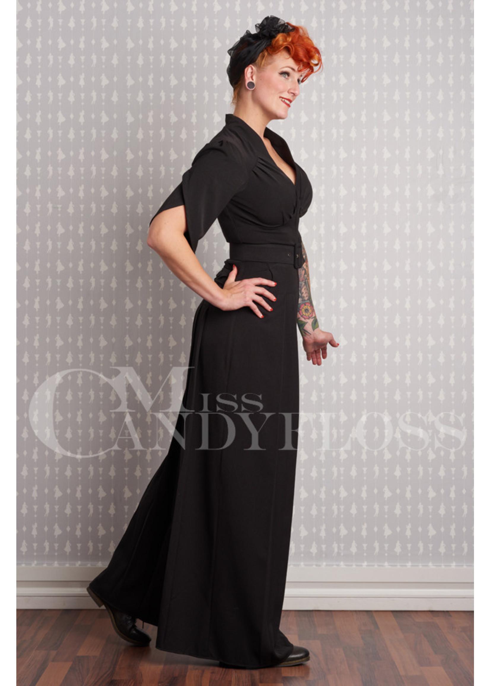Miss-Candyfloss Miss Candyfloss Gigi-Lou Pantskirt Jumpsuit in Black
