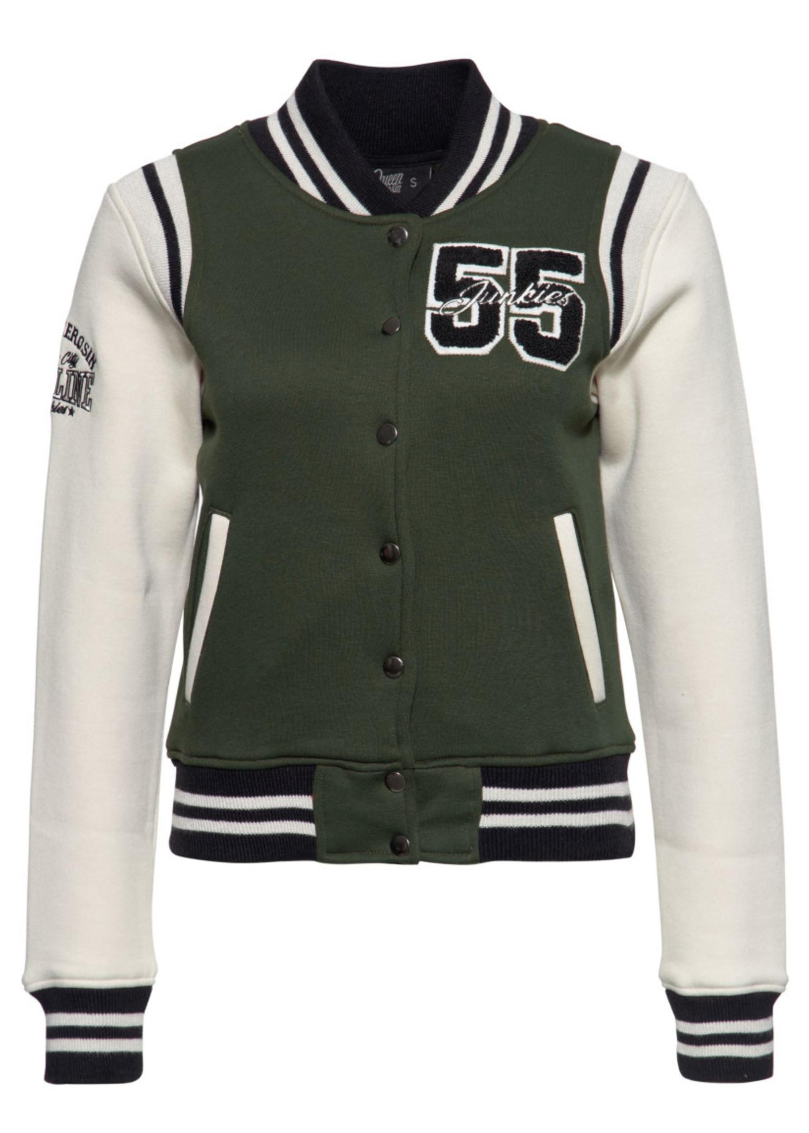 Queen Kerosin Queen Kerosin Baseball jacket Gasoline Junkies in Olive and Off White