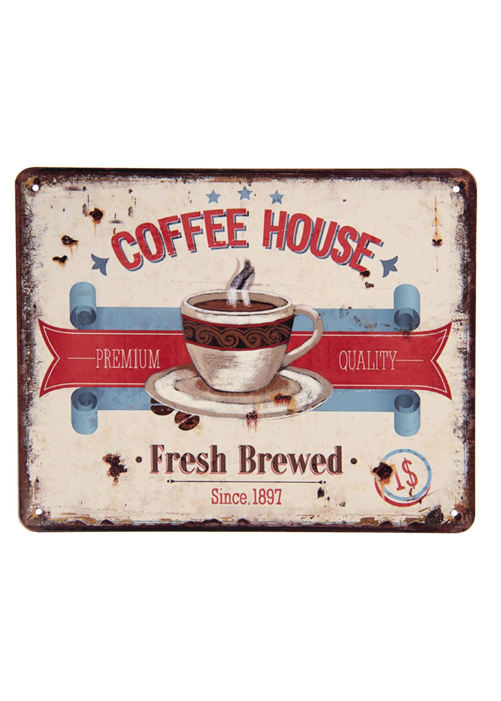 "Metal wall sign 25 x 20cm ""Coffee House""."