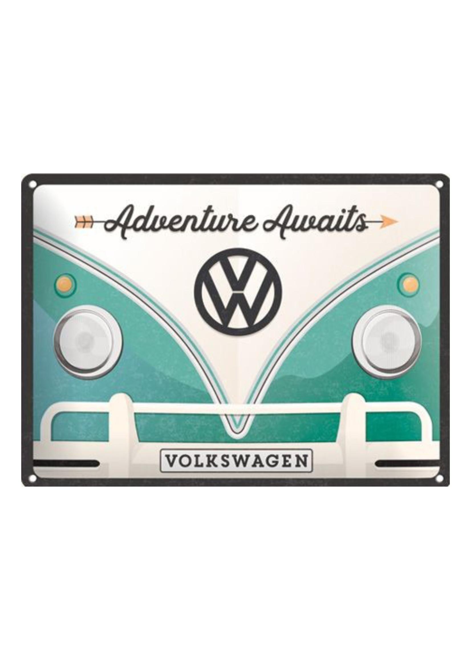 Nostalgic Art Metal wall sign 15 x 20 cm Adventures Awaits VW