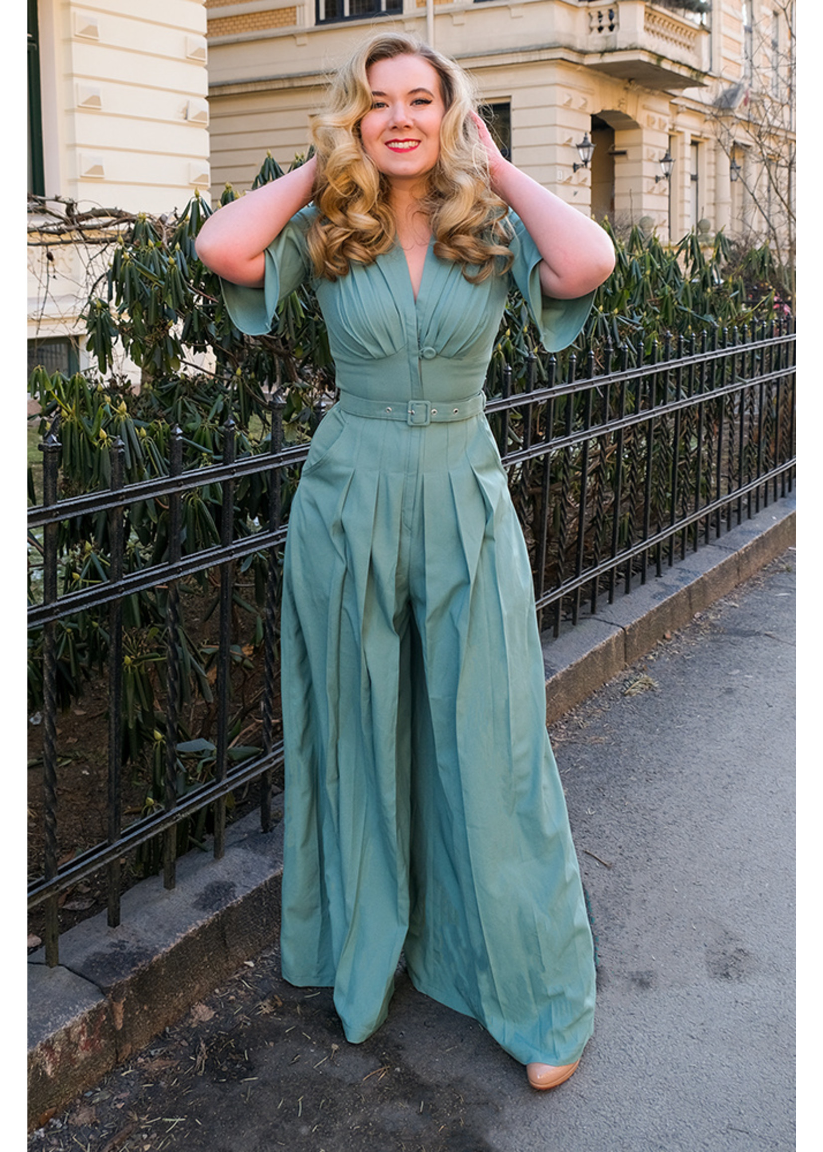 Miss-Candyfloss Miss Candyfloss Giada-Minty Jumpsuit in Minty-blue