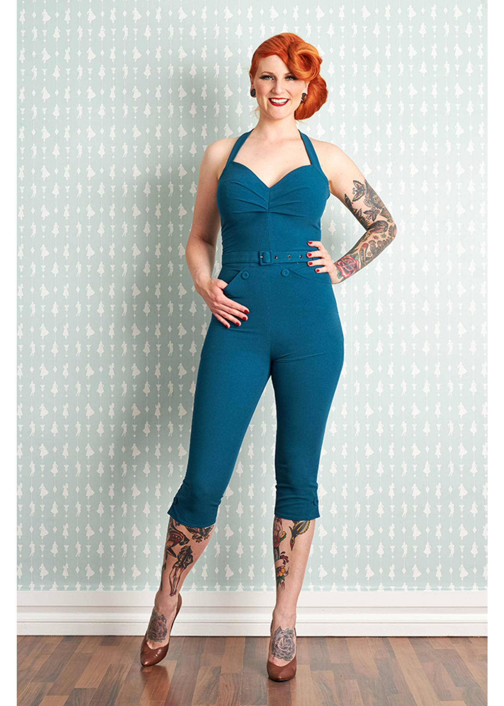 Miss-Candyfloss Miss Candyfloss Mitsy-Kat Halterneck Playsuit in Petrol