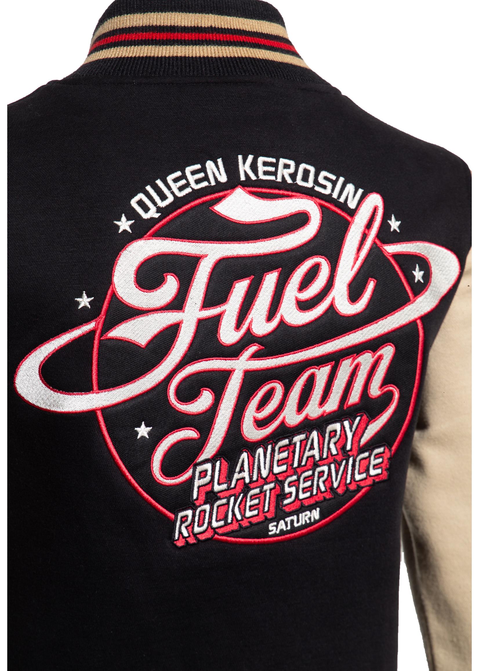 Queen Kerosin Queen Kerosin Baseball jacket Fuel Team in Black and Beige