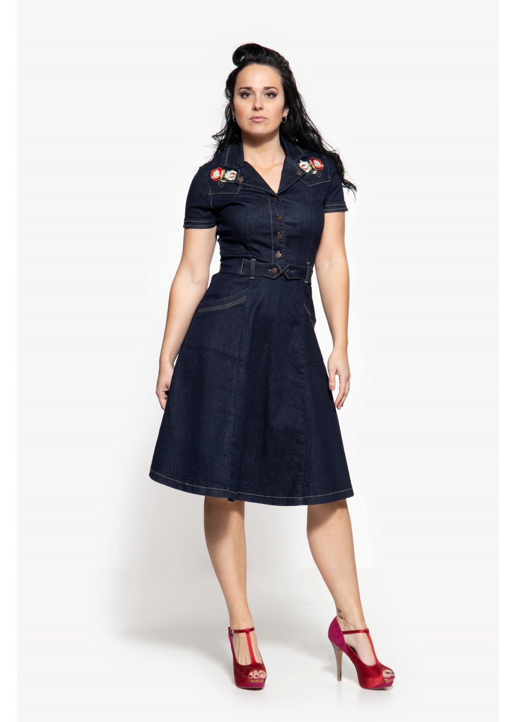 Queen Kerosin Queen Kerosin Workers Denim Swing Dress in Dark Blue