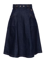 Queen Kerosin Queen Kerosin Workwear Denim Skirt in Dark Blue