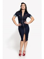 Queen Kerosin Queen Kerosin 50s Workwear Denim Dress in Dark Blue