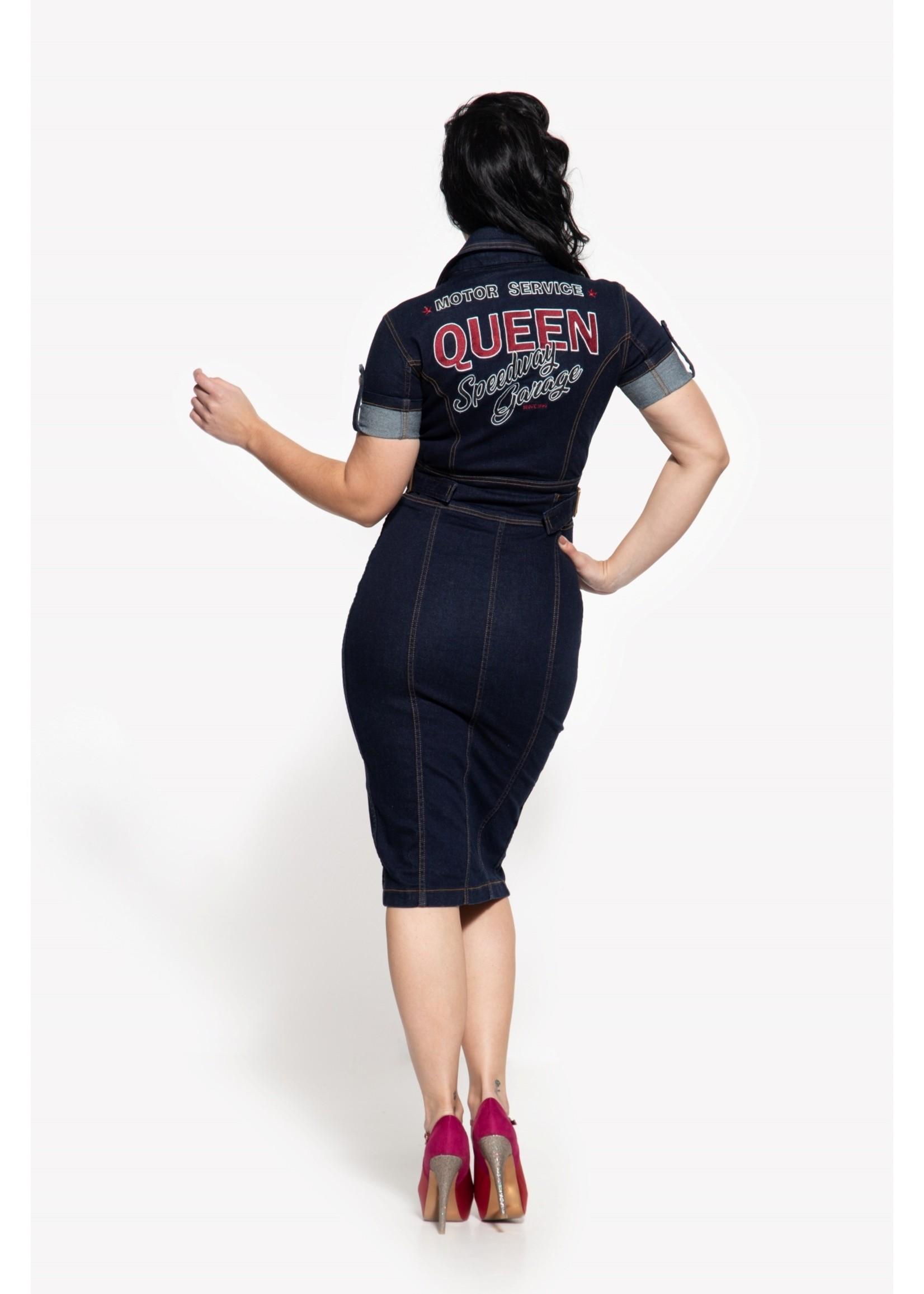Queen Kerosin Queen Kerosin 50s Workwear Denim Dress in Dark Blue