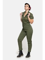 Queen Kerosin Queen Kerosin Workwear Overall in Olive Green