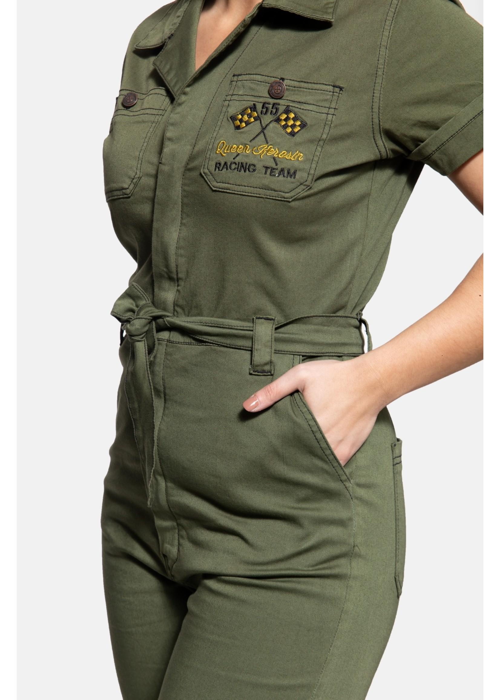 Queen Kerosin Queen Kerosin Workwear Overall in Olive Green