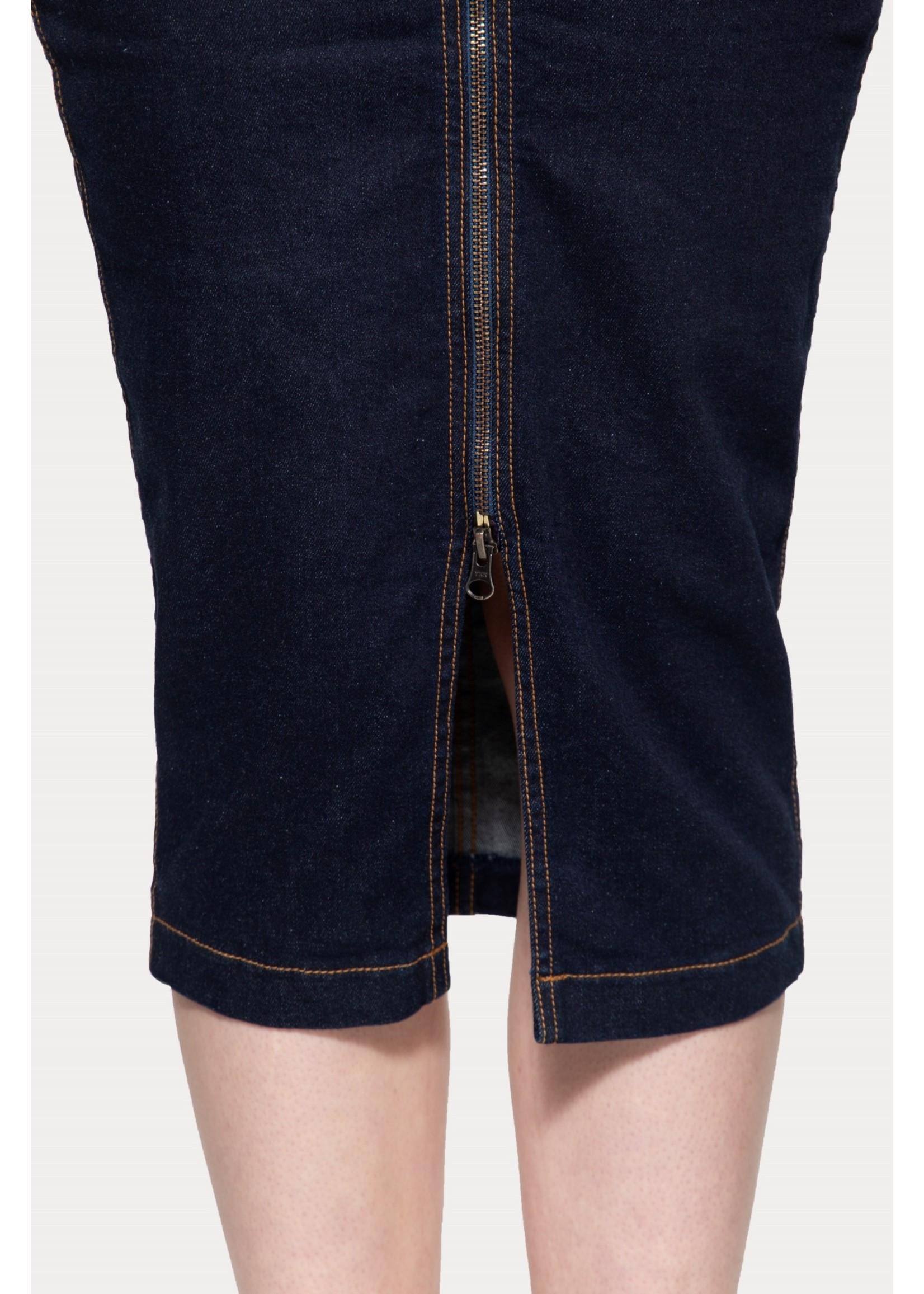 Queen Kerosin Queen Kerosin Workwear Denim Pencil Skirt in Dark Blue