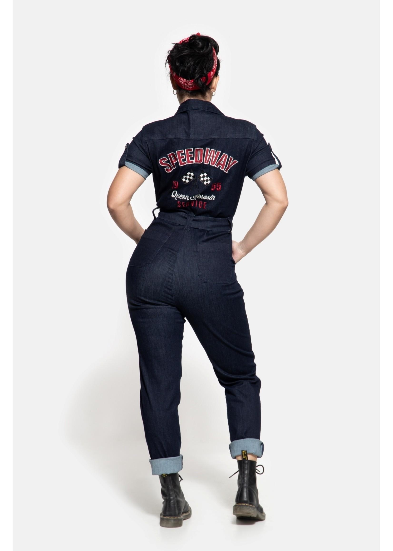 Queen Kerosin Queen Kerosin Workwear Overall in Denim Blue