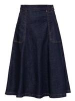 Queen Kerosin Queen Kerosin Danea Denim Swing Skirt in Dark Blue