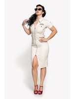 Queen Kerosin Queen Kerosin 50s Workwear Dress in Offwhite