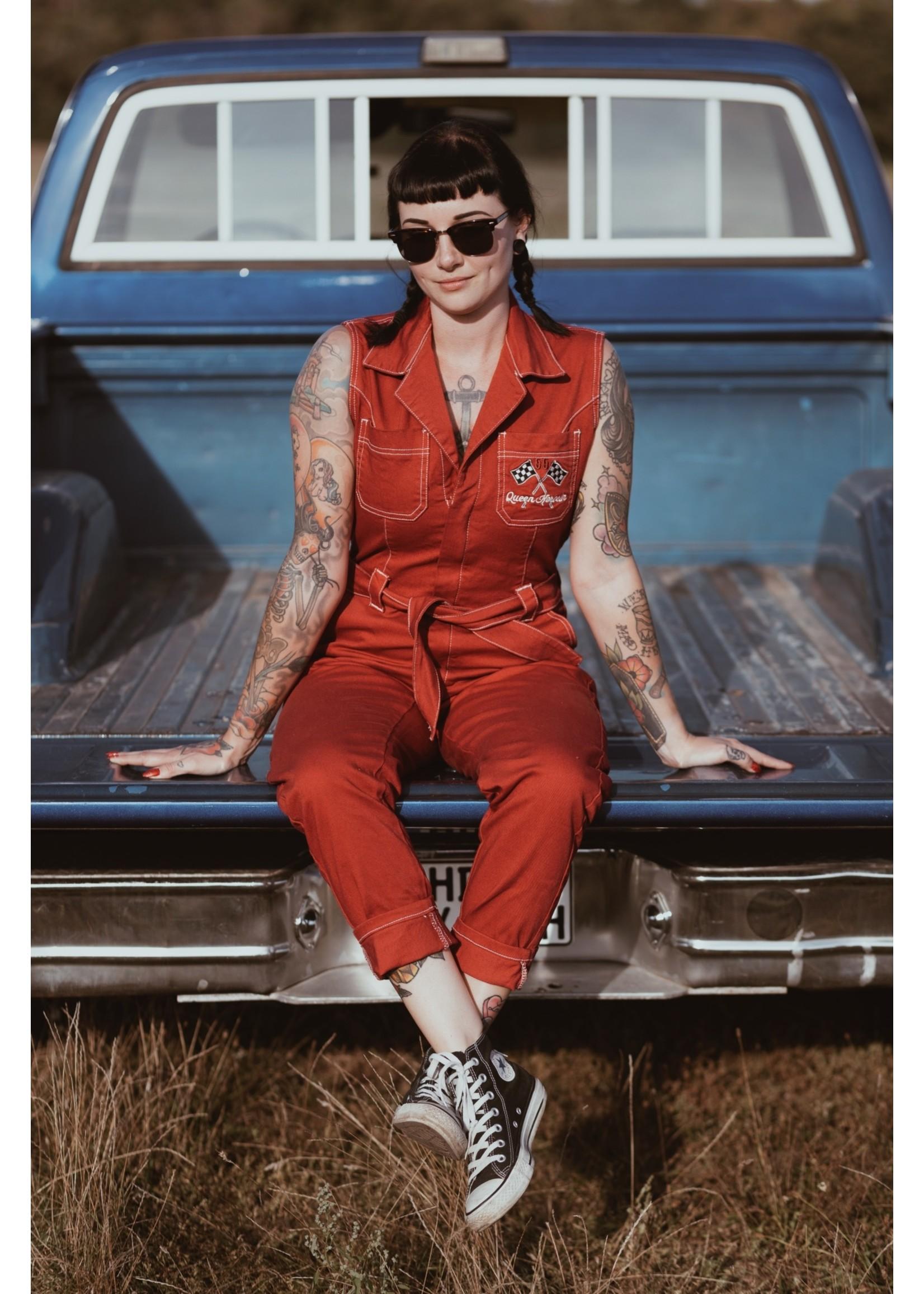 Queen Kerosin Queen Kerosin Workwear Overall Speedway Garage in Red