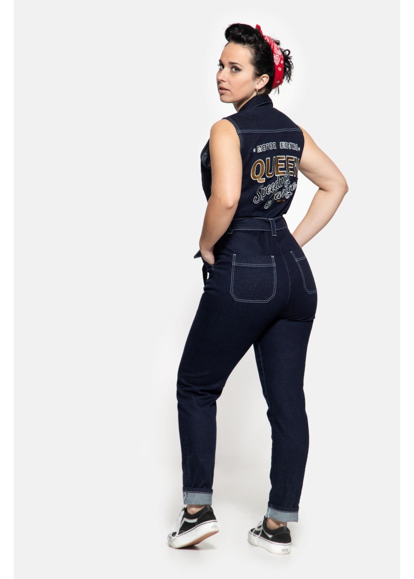Queen Kerosin Queen Kerosin Workwear Overall Speedway Garage in Dark Blue