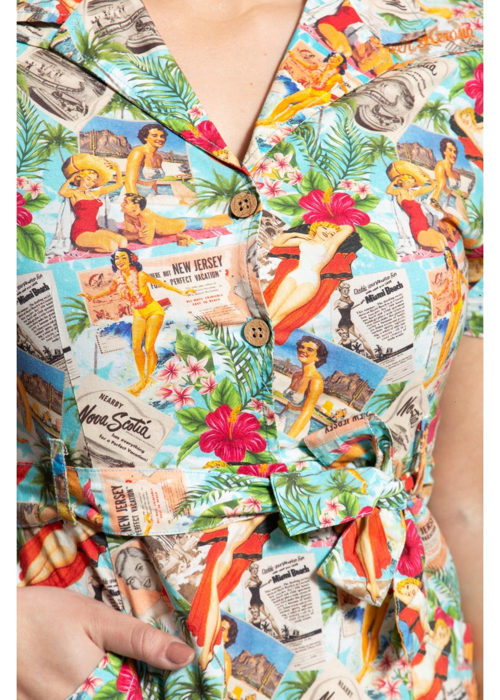 Queen Kerosin Queen Kerosin  Swing Dress Tanja Tropical Vintage Summer