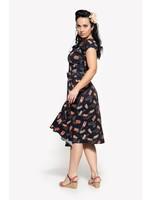 Queen Kerosin Queen Kerosin 50s Mambo Matchbox  Swing Dress in Dark Navy