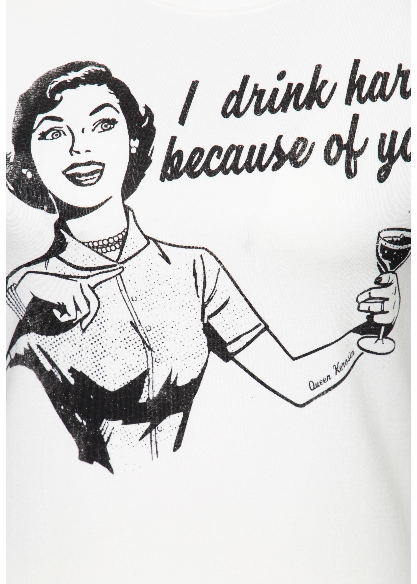 """Queen Kerosin Queen Kerosin 50s T-shirt """" I Drink Hard"""" Off-White"""