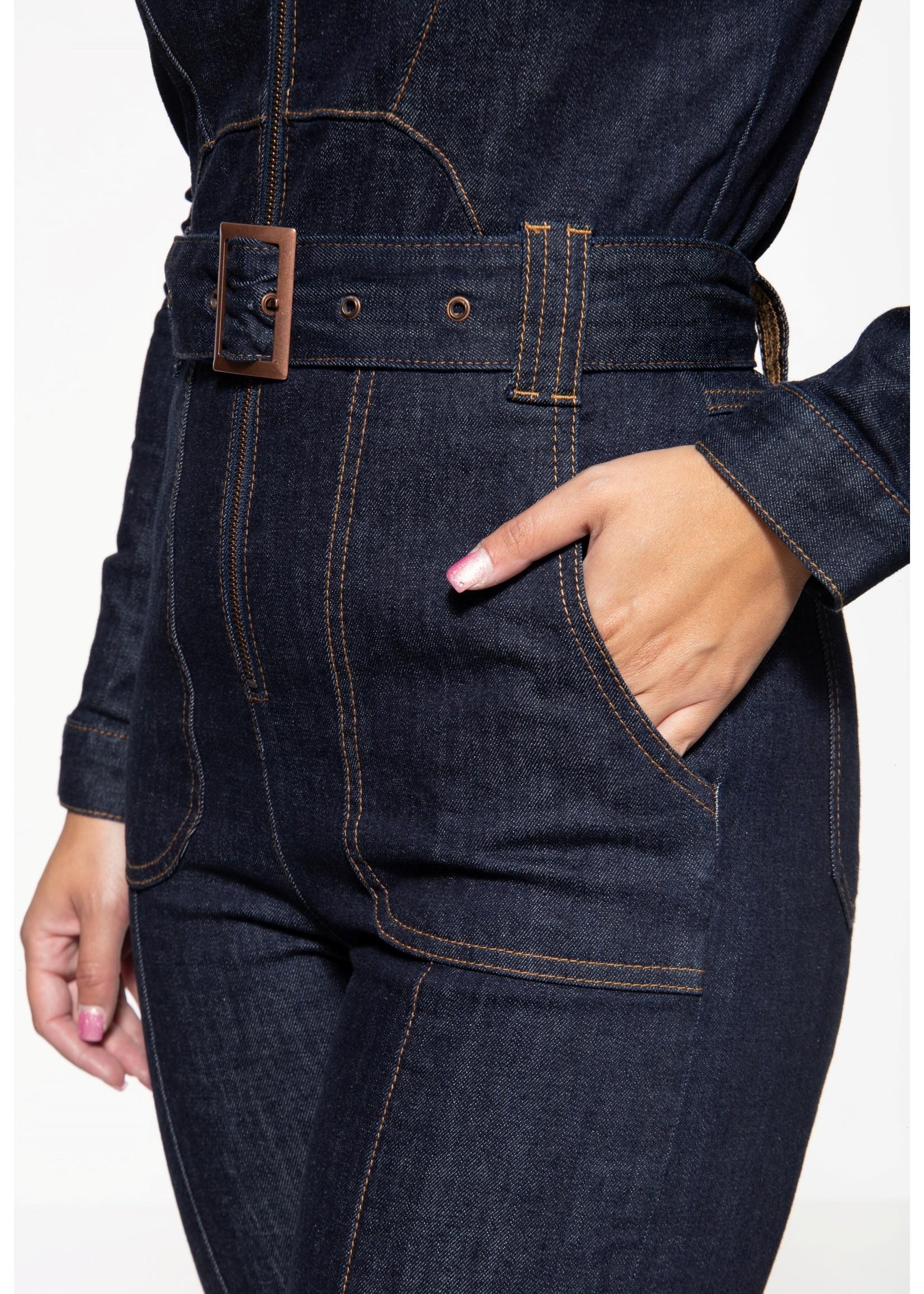 Queen Kerosin Queen Kerosin Workwear Overall in Denim Dark Blue