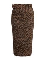 Queen Kerosin Queen Kerosin Pencil Skirt in Leopard Beauty Brown