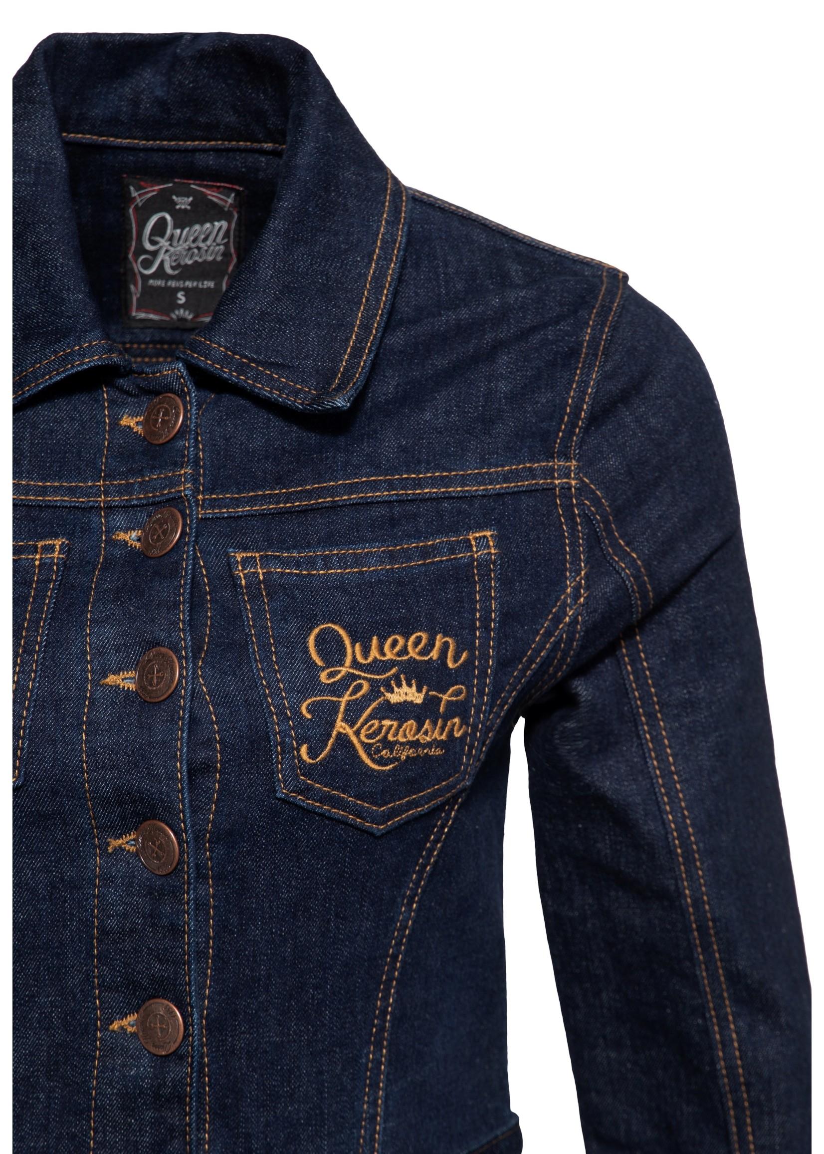 Queen Kerosin Queen Kerosin 50s Q Crown Blouse Swing Jurk in Dark Blue Wash