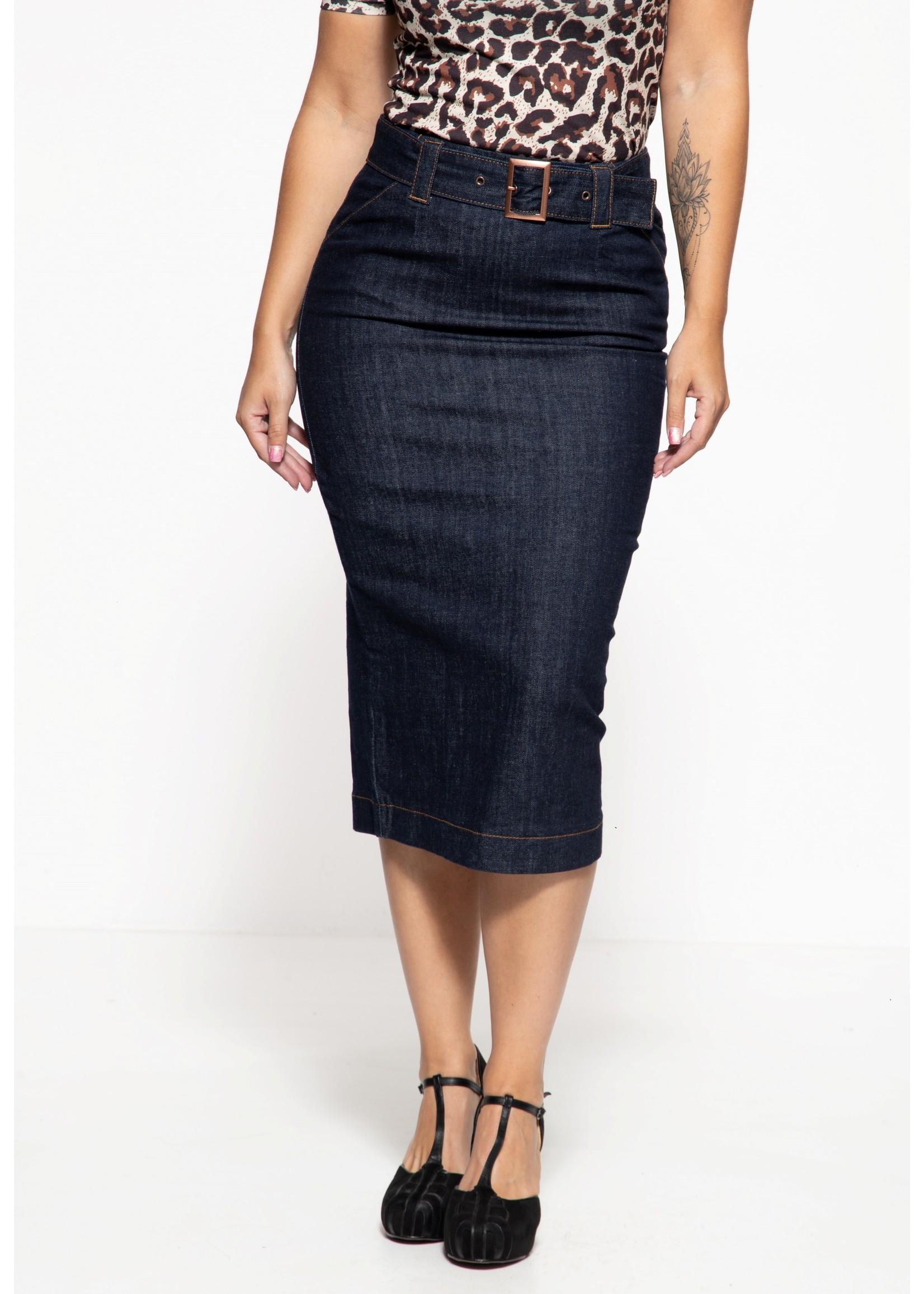 Queen Kerosin Queen Kerosin Denim 50s Pencil Skirt in Dark Blue