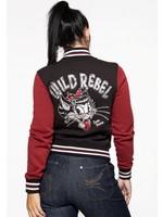 Queen Kerosin Queen Kerosin Baseball Jacket Wild Rebel in Black and Red