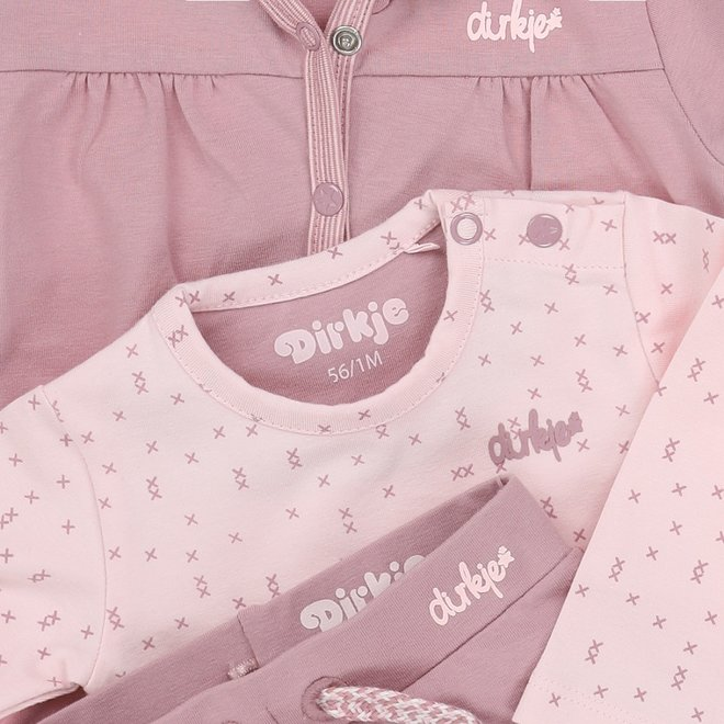 Dirkje girls babysuit 3-piece pale pink and mauve