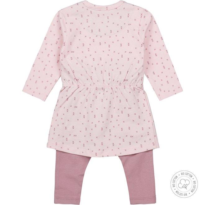 Dirkje girls babysuit 2-piece pale pink and mauve