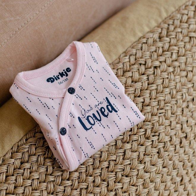 Dirkje meisjes babyshirtje roze met navy print