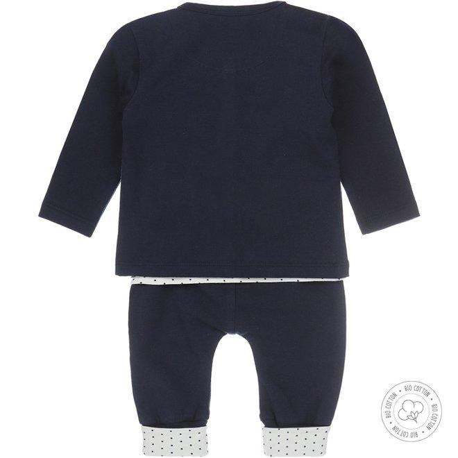 Dirkje girls babysuit 3-piece navy and ecru