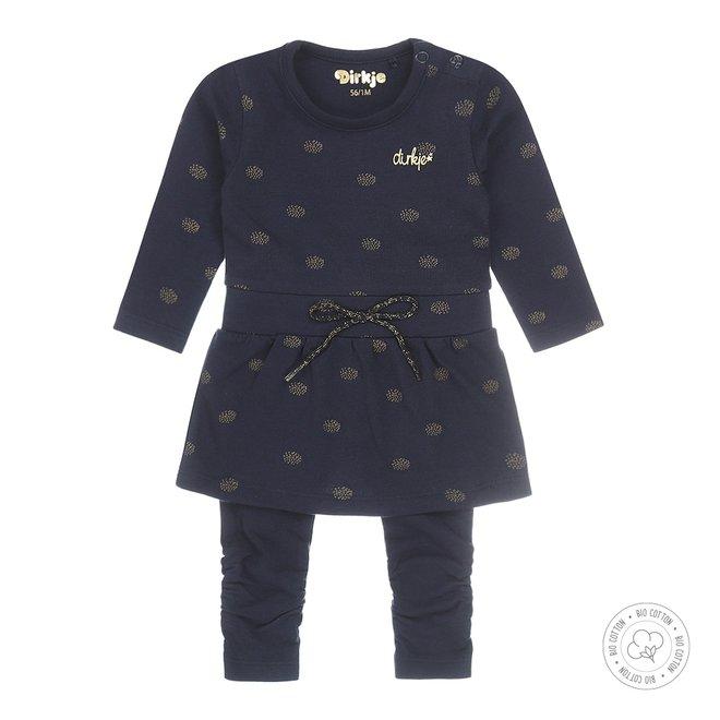 Dirkje Mädchen Babykleid mit Legging Navy und Gold