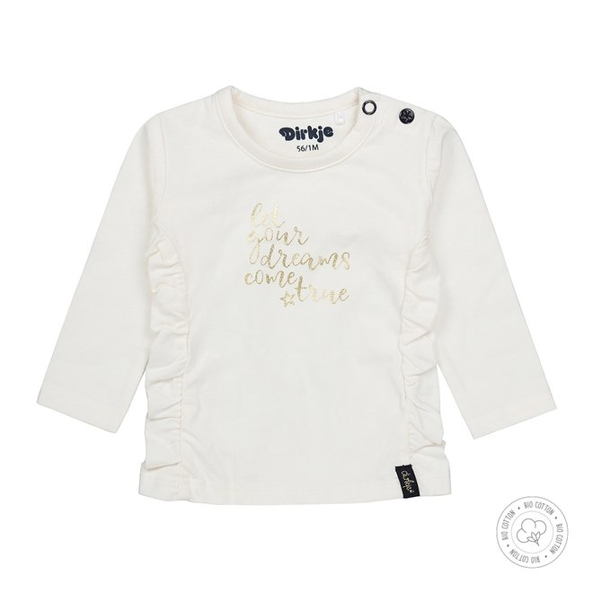 Dirkje girls baby shirt ecru with gold