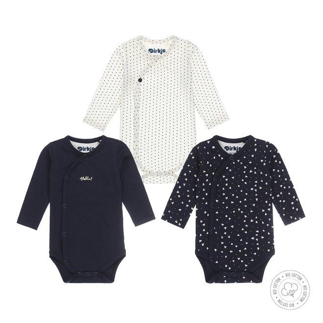Dirkje girls baby suit 3-pack navy en ecru