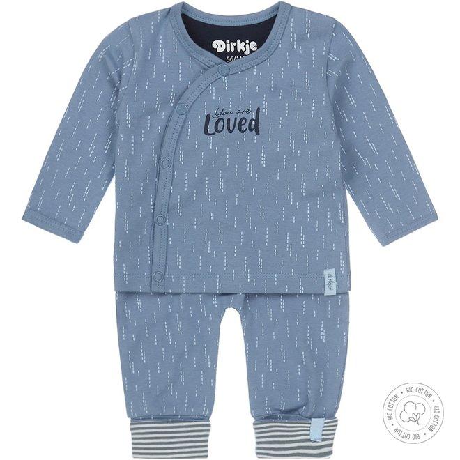 Dirkje jongens babypakje 2-delig  mid blue