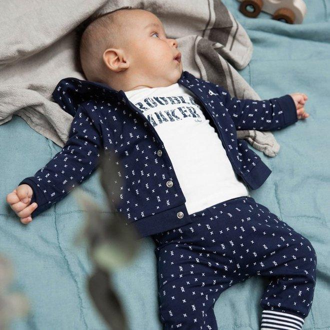 Dirkje Jungen Babyhose Navy mit Aufdruck