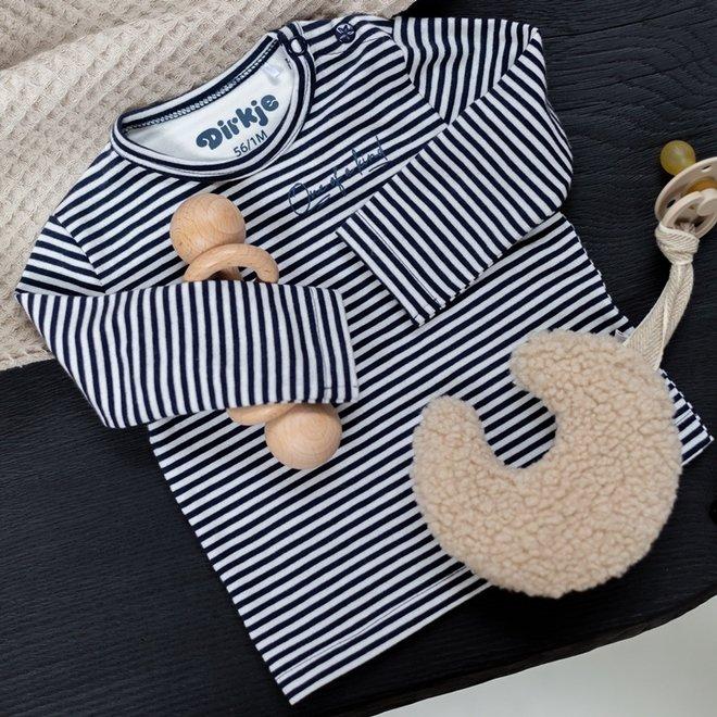 Dirkje jongens babyshirtje navy met streep