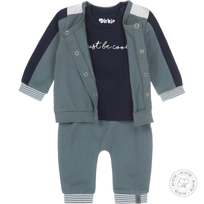 Dirkje boys babysuit 3-part navy and dusty green