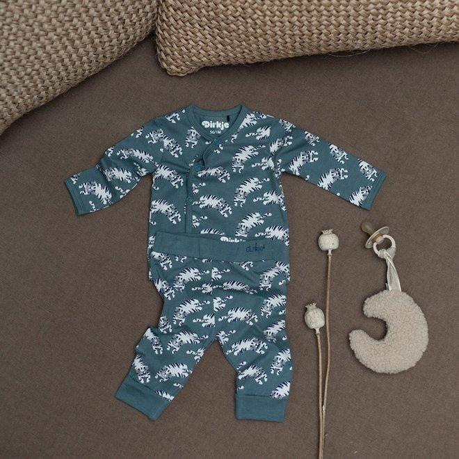 Dirkje boys babysuit 2-part dusty green tiger