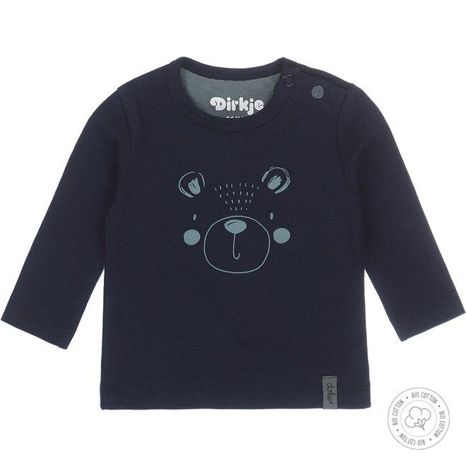 Dirkje Jungen Babyshirt Navy mit Bär