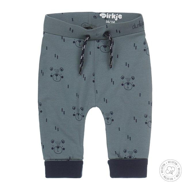 Dirkje boys baby pants dusty green with print