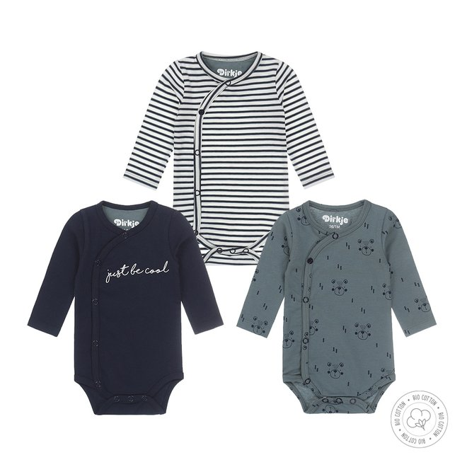 Dirkje boys bodysuit 3-pack navy, dusty green and ecru