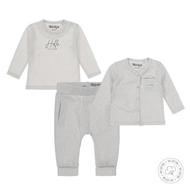 Dirkje unisex babysuit 3-piece light grey and ecru