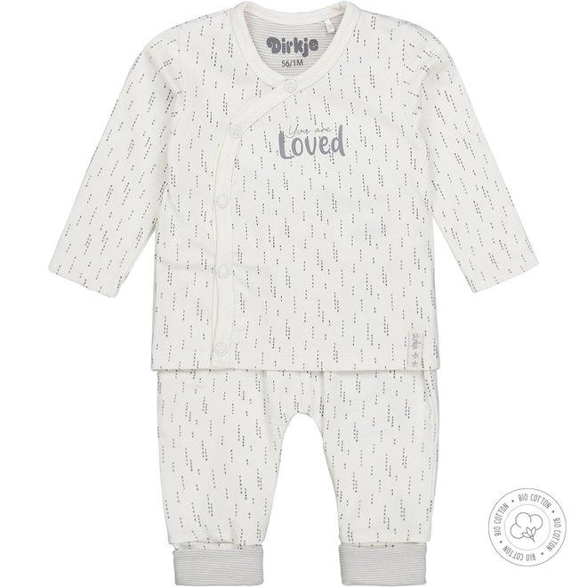 Dirkje Unisex Babyset 2-teilig Hellgrau und Ecru
