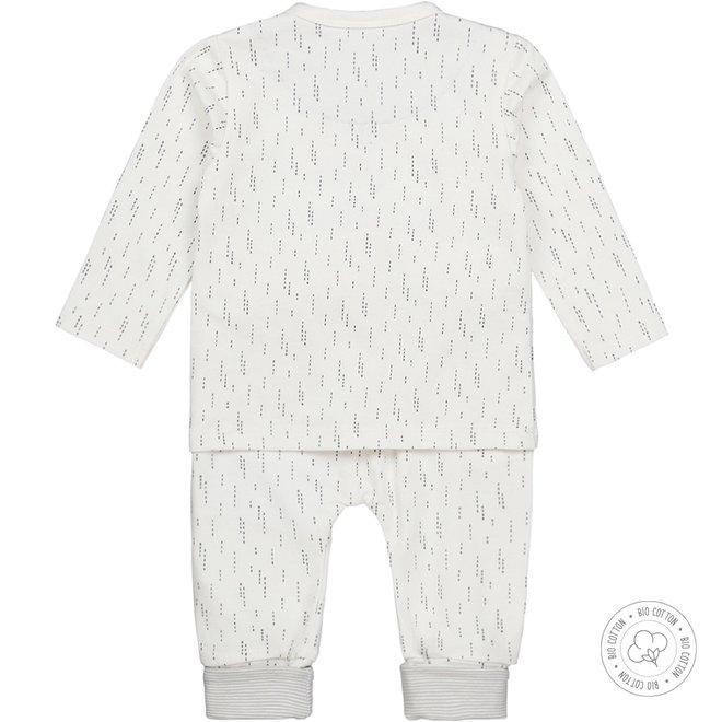 Dirkje unisex babysuit 2-piece light grey and ecru